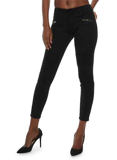 Cello Moto Skinny Jeans,BLACK,large