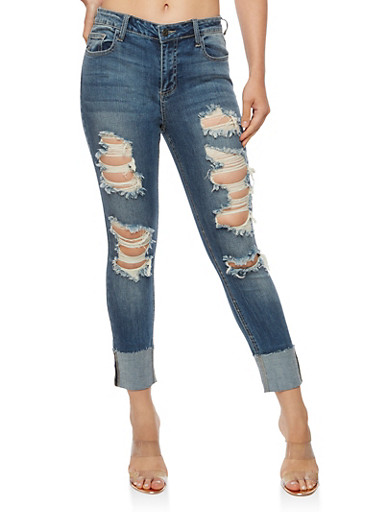 Cello Ripped Skinny Jeans with Rolled Cuff,MEDIUM WASH,large
