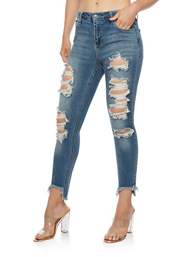 Cello Destroyed Skinny Jeans with Frayed Hem,MEDIUM WASH,large