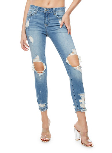 Cello Destroyed Cropped Skinny Jeans,LIGHT WASH,large