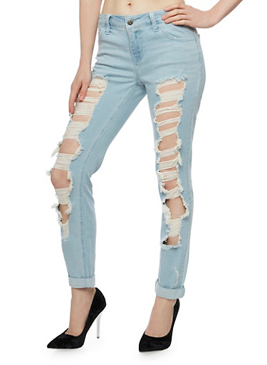 Cello Destroyed Skinny Jeans with Cuffs,LIGHT WASH,large