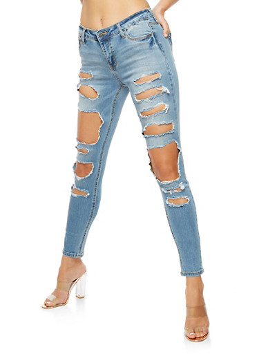 Cello Ripped Skinny Jeans,MEDIUM WASH,large