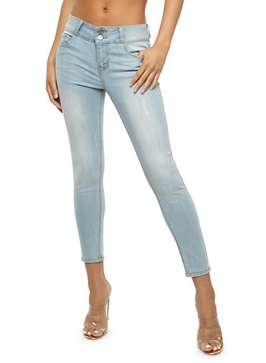 Cello 2 Button Skinny Jeans,LIGHT WASH,large