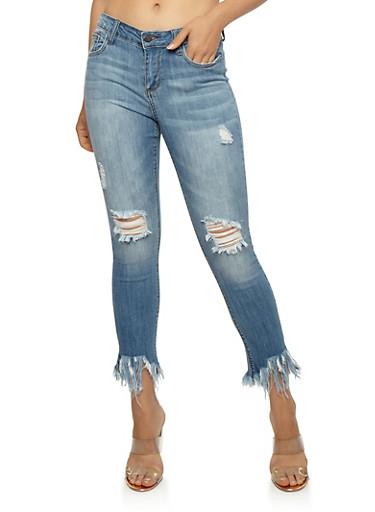 Cello Destroyed Long Fringe Skinny Jeans,MEDIUM WASH,large