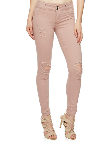Cello Distressed Skinny Jeans,MAUVE,large