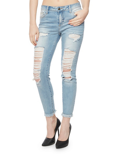 Cello Light Wash Ripped Skinny Jeans with Frayed Hem,LIGHT WASH,large