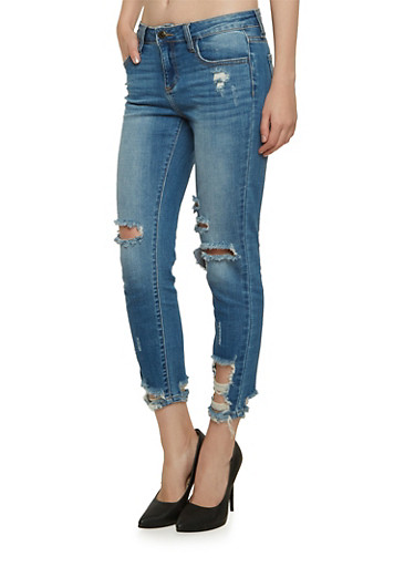 Cello Destroyed Skinny Jeans with Whiskering,MEDIUM WASH,large