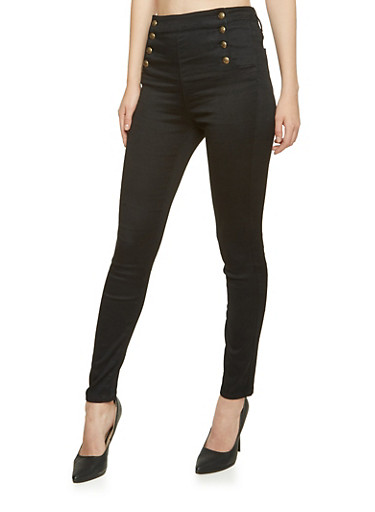 Cello Skinny Sailor Jeans,BLACK DENIM,large