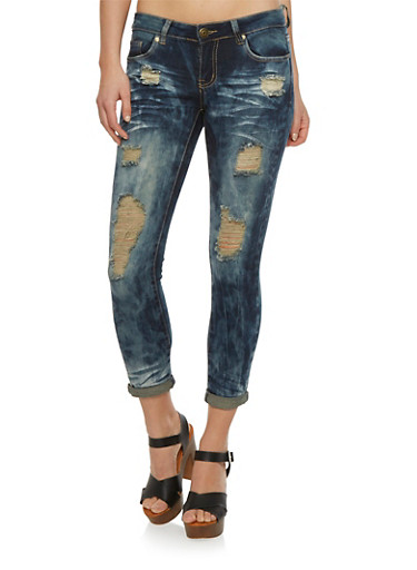 Distressed Skinny Jeans,MEDIUM WASH,large