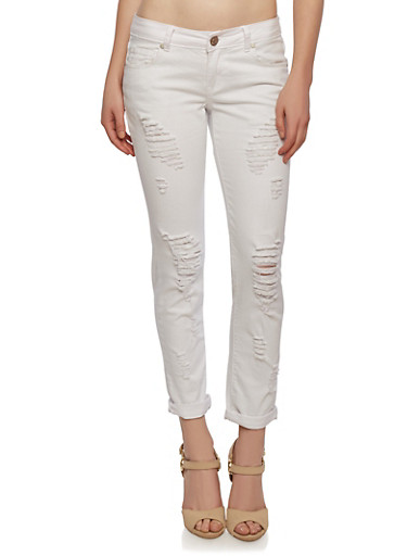 Distressed White Skinny Jeans with Five Pockets,WHITE,large