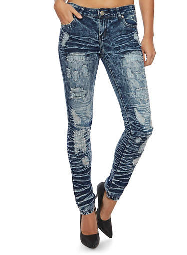 Distressed Skinny Jeans in Acid Wash,RINSE,large