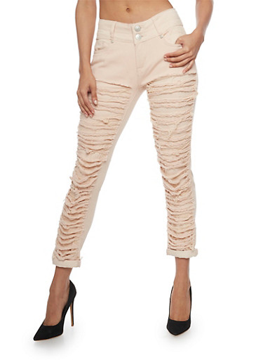Solid Destroyed Front Skinny Jeans,ROSE,large