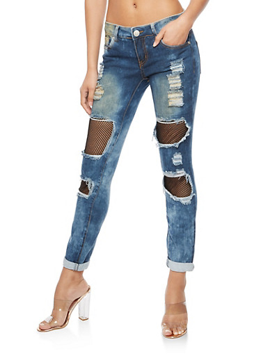 Mesh Insert Rolled Cuff Destroyed Jeans,MEDIUM WASH,large