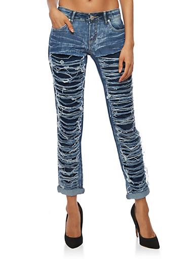 Acid Wash Shredded Jeans,DARK WASH,large