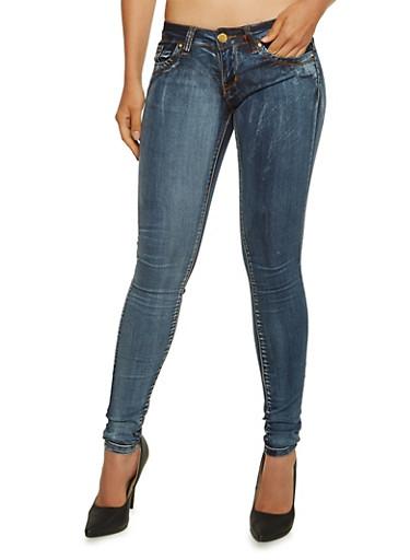 VIP Five Pocket Skinny Jeans,MEDIUM WASH,large