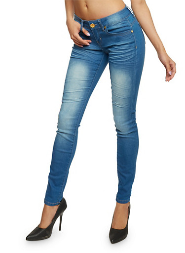 VIP Cloud Wash Skinny Jeans,BLUE,large