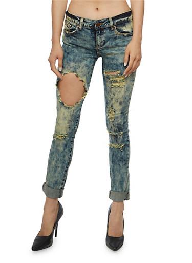 VIP Ripped Skinny Jeans,MEDIUM WASH,large