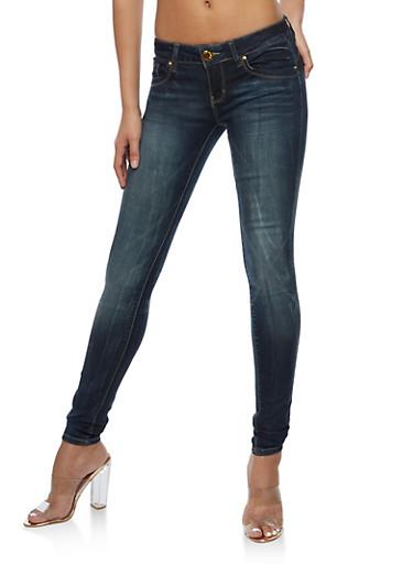 VIP Whisker Wash Skinny Jeans,BLACK/BLUE,large