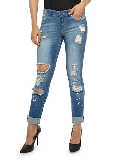 VIP Rolled Cuff Destroyed Skinny Jeans,MEDIUM WASH,large