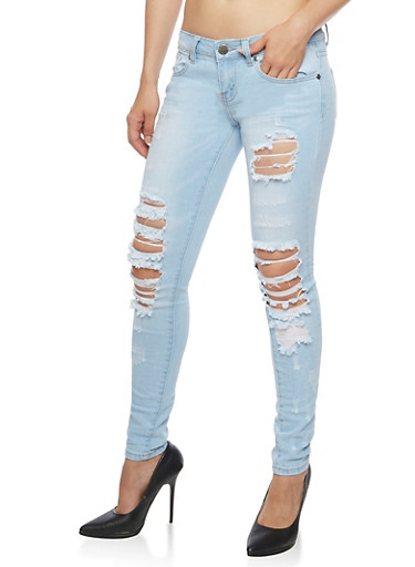 VIP Ripped Light Wash Skinny Jeans,LIGHT WASH,large