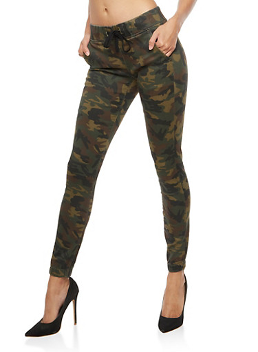 Camo Jogger Pants,OLIVE,large