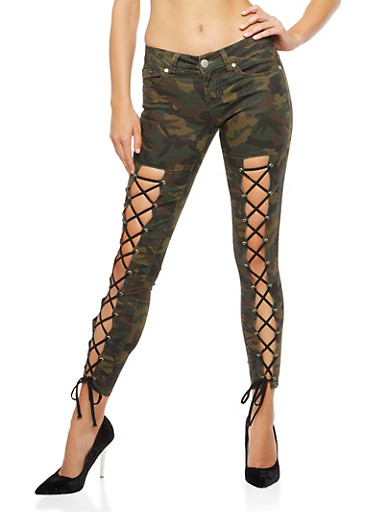 Camo Lace Up Push Up Jeans,CAMOUFLAGE,large