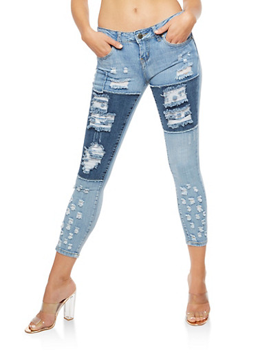 VIP Two Toned Destroyed Jeans,MEDIUM WASH,large