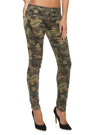 Camo Skinny Pants with Moto Stitching,CAMOUFLAGE,large