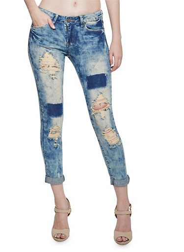 VIP Distressed Skinny Jeans with Patchwork,DENIM,large