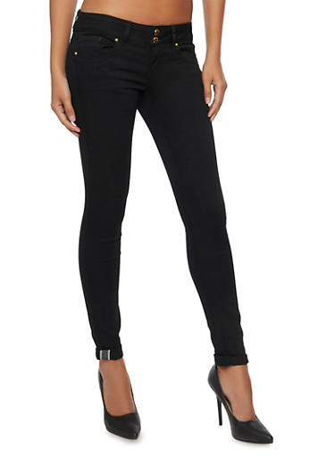 VIP Skinny Jeans with Double Buttons,BLACK,large