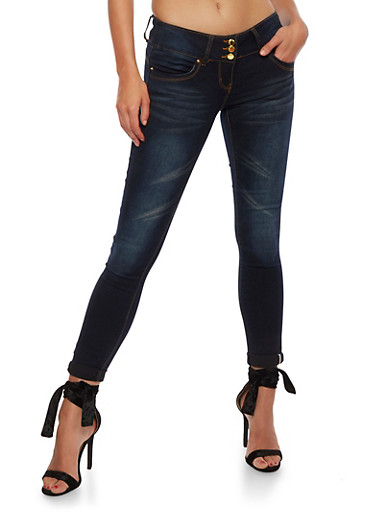 VIP Whisker Wash Push Up Jeans,BLUE BLACK,large