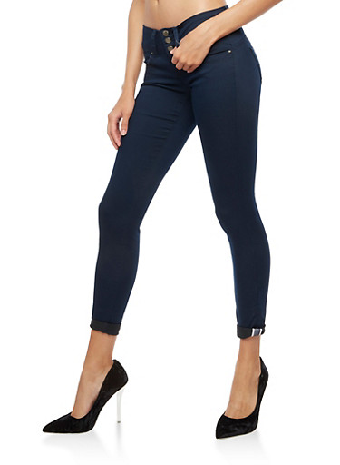 3 Button Push Up Skinny Jeans,NAVY,large