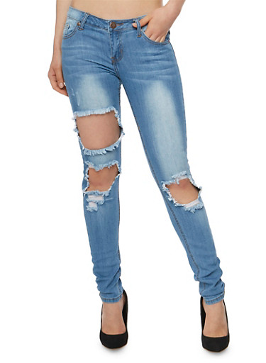 VIP Ripped Knee Whisker Wash Skinny Jeans,MEDIUM WASH,large
