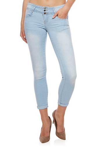 VIP Three Button Skinny Jeans,LIGHT WASH,large