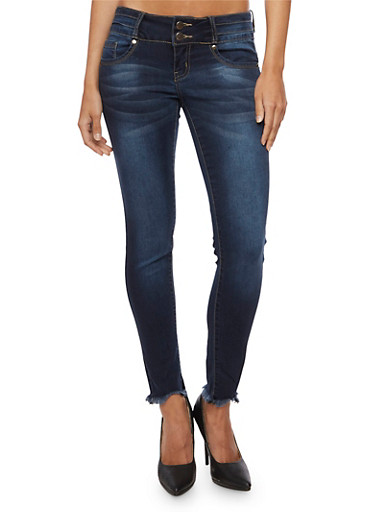 VIP Two Button Skinny Jeans with Frayed Ankle,DARK WASH,large