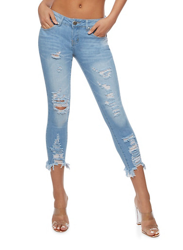 VIP Cropped Destroyed Skinny Jeans,LIGHT WASH,large