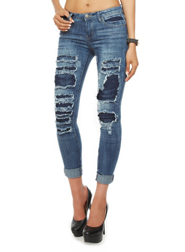 VIP Jeans Medium Wash Destroyed Boyfriend Jeans - Rainbow