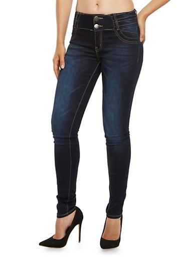 VIP High Waisted Skinny Jeans,DARK WASH,large