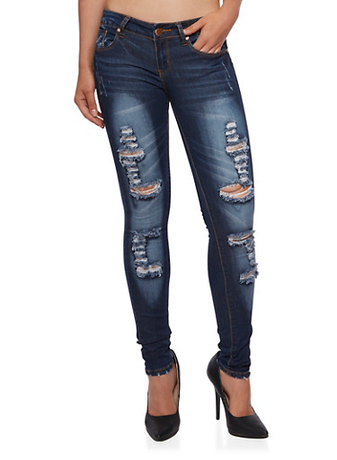 VIP Distressed Skinny Jeans,DARK WASH,large