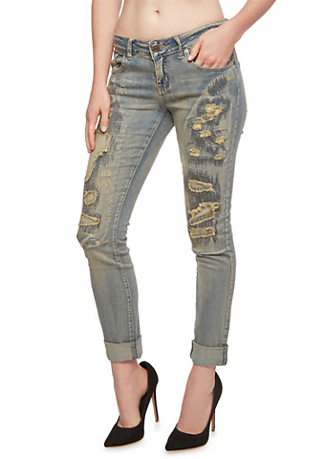 VIP Jeans Rip and Repair Boyfriend Jeans - Rainbow