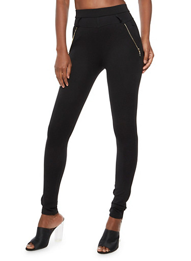 Solid Ponte Pants with Zippers,BLACK,large