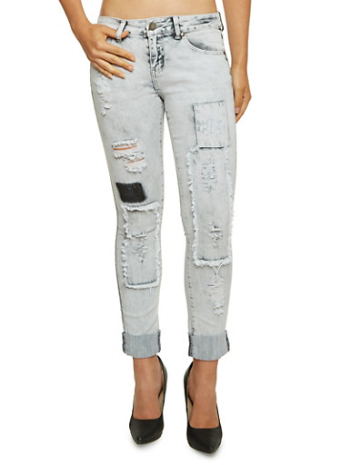 VIP Distressed Skinny Jeans with Patchwork,GRAY,large