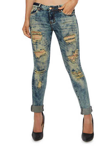 VIP Jeans with Acid Wash and Distressing,DENIM,large