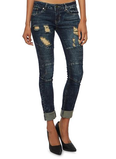 VIP Skinny Moto Jeans,DENIM,large