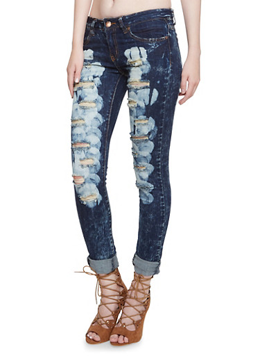 VIP Distressed Jeans with Five Pocket Design,DARK WASH,large