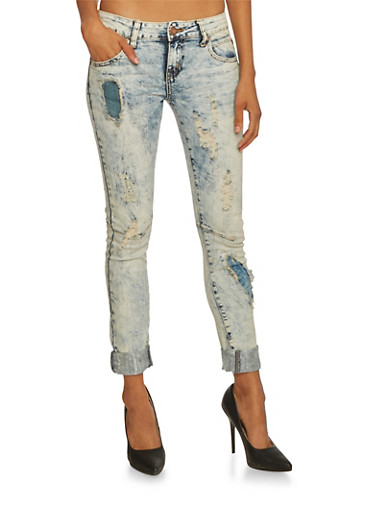 VIP Ripped Skinny Jeans with Beach Wash,LIGHT WASH,large