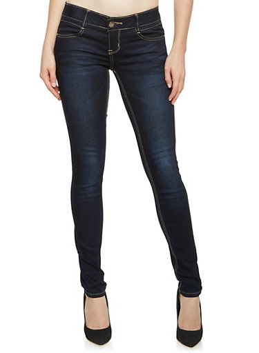 VIP Skinny Jeans with Elastic Waistband,DARK WASH,large