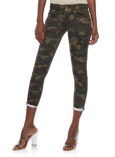 Camo Print Push Up Skinny Pants,CAMOUFLAGE,large