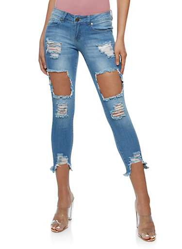 VIP Cropped Open Hole Skinny Jeans,MEDIUM WASH,large