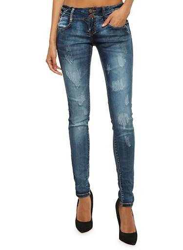 VIP Distressed Dark Wash Jeans with Braided Waist,DARK WASH,large
